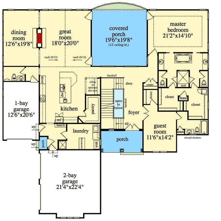 Main level floor plan of a 6-bedroom two-story craftsman home with foyer, great room, kitchen, laundry, formal dining room, and two bedrooms including the primary and guest suites.