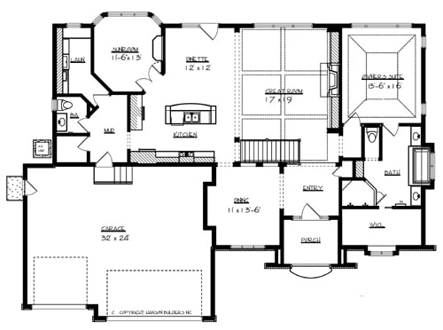 Main level floor plan of a single-story 1-bedroom Windsor European home with a formal dining room, great room, primary suite, sunroom, laundry, and a mudroom that leads to the two-car garage.
