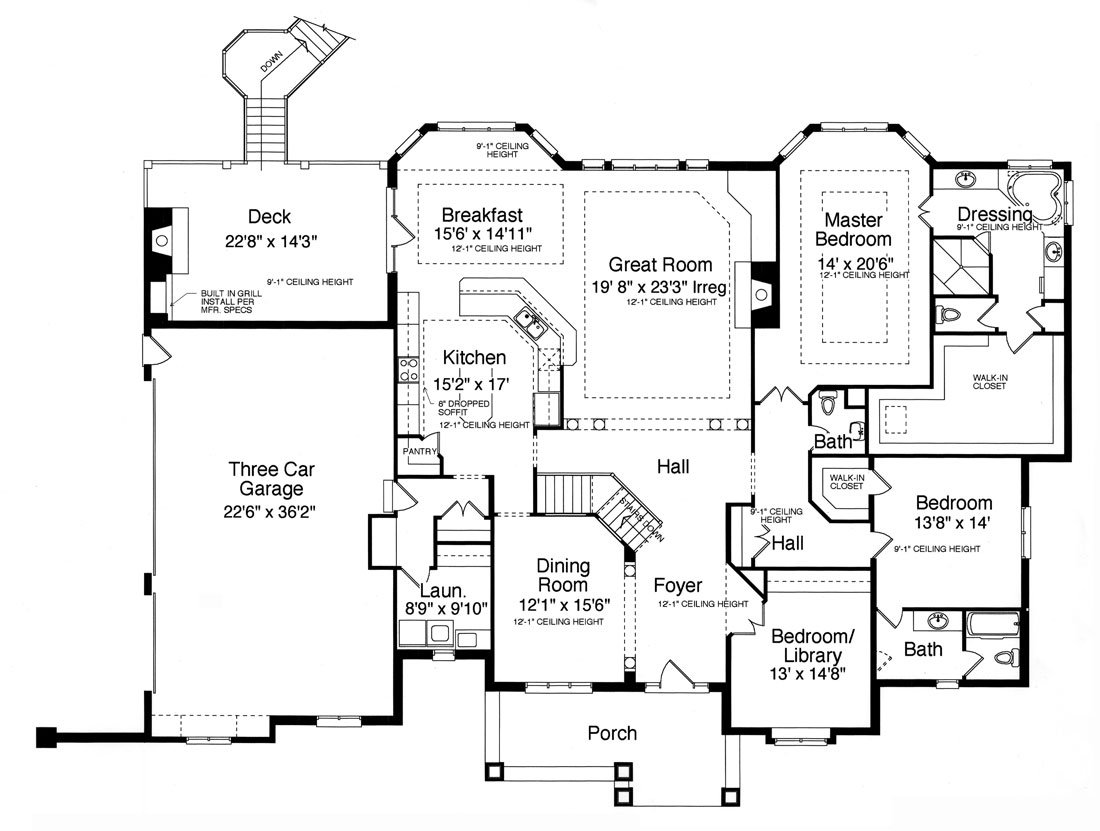 Main level floor plan of a single-story 3-bedroom Hunters Glen ranch with formal dining room, great room, laundry, three bedrooms, kitchen, and a breakfast nook that opens out to the deck.