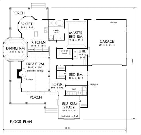Main level floor plan of a single-story 3-bedroom The Brennan ranch with wrapping porches, great room, kitchen with bayed breakfast nook, and three bedrooms including the primary suite and the versatile study.