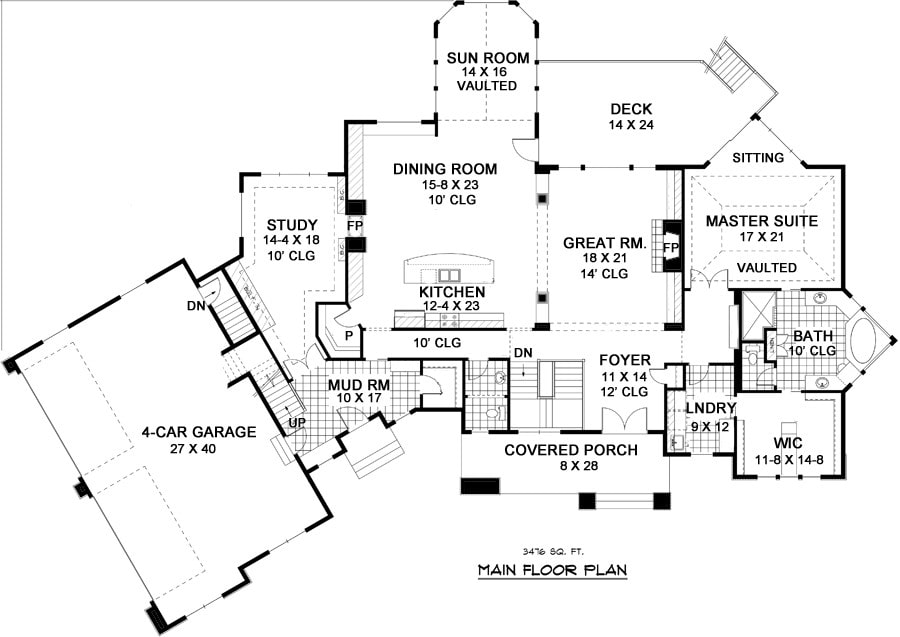 Main level floor plan of a single-story 5-bedroom traditional Nantucket home with 4-car garage, primary suite, study, great room, kitchen, and dining room that opens to the sunroom and rear deck.