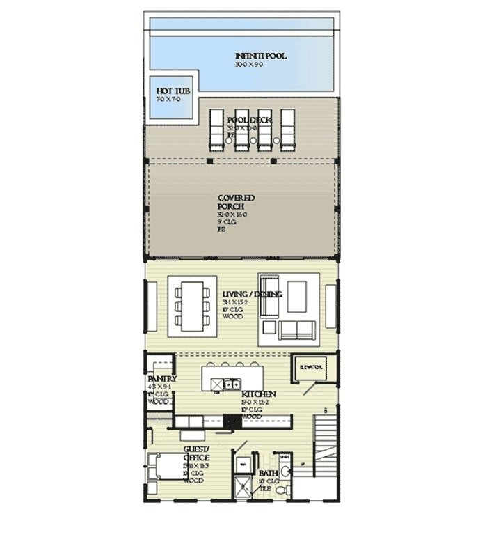 Main level floor plan of a three-story 4-bedroom beach home with flexible guest room/office, kitchen, and combined living and dining that opens to the covered porch and pool deck.
