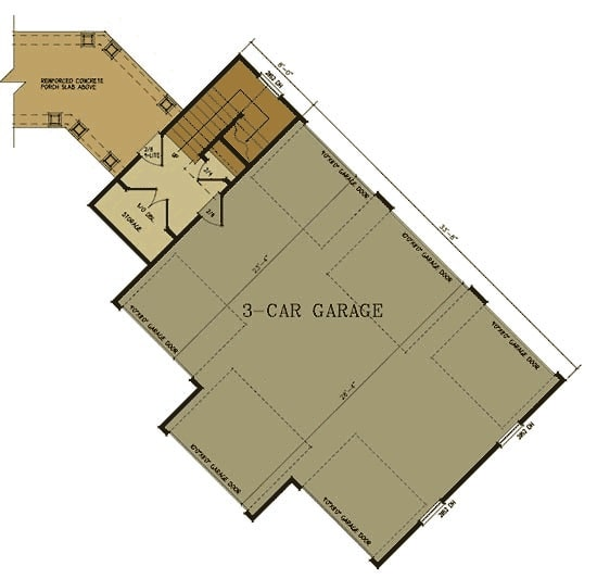 Main level floor plan of a two-story 1-bedroom rustic carriage home with storage area and a three-car garage with full drive-through access.