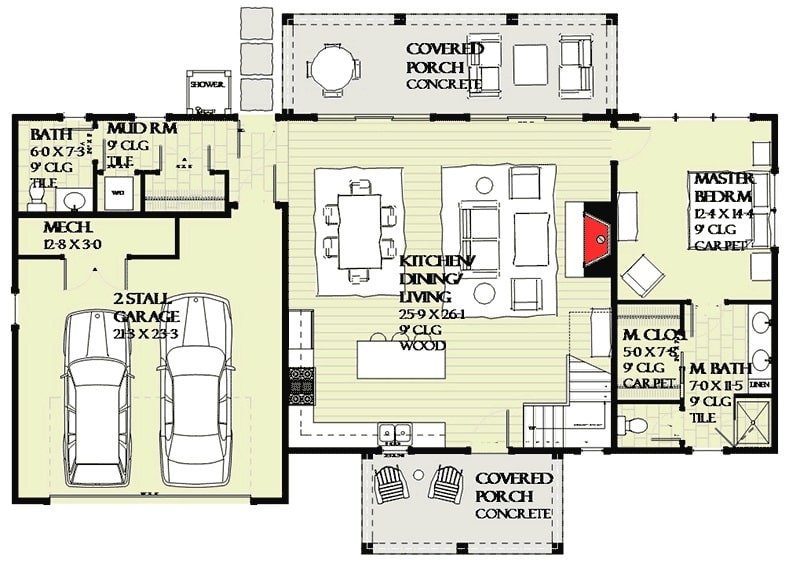 Main level floor plan of a two-story 3-bedroom farmhouse with kitchen, dining area, and living, room, mudroom, primary suite, and back and front porches.