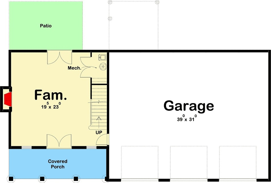 Main level floor plan of a two-story 3-bedroom post frame carriage home with an oversized garage and a family room that opens to the front and rear porches.
