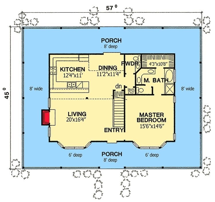 Main level floor plan of a two-story 3-bedroom Southern home with a wrap-around porch, living room, kitchen, dining area, and a primary suite.