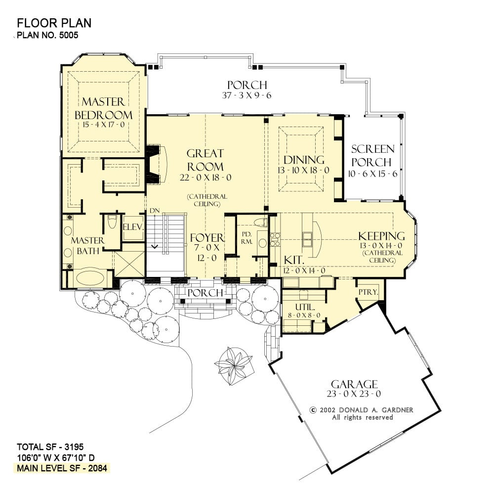 Main level floor plan of a two-story 3-bedroom The Dogwood Ridge rustic home with an angled garage, great room, dining room, kitchen, keeping room that opens to the screened porch, utility, and primary suite with private access to the rear porch.