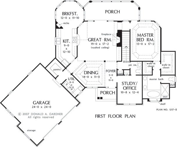 Main level floor plan of a two-story 3-bedroom The Hammond Hill rustic home with angled garage, formal dining room, study/office, primary bedroom, great room that opens to the back porch, and kitchen with breakfast nook.