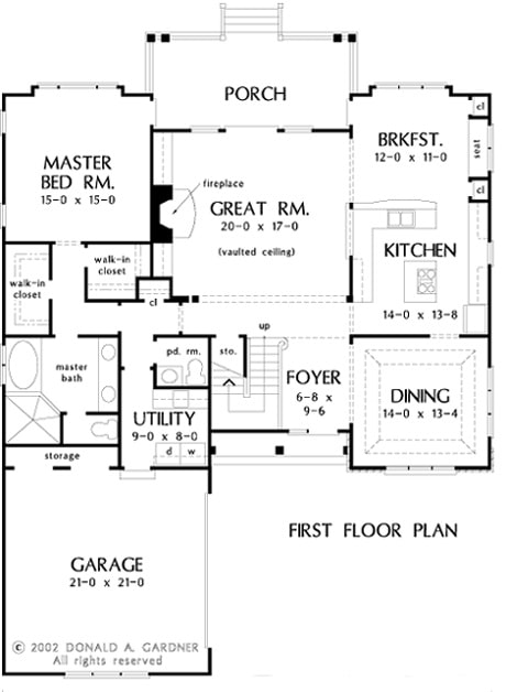 Main level floor plan of a two-story 3-bedroom The Newcastle English cottage home with a formal dining room, kitchen with breakfast book, great room that opens to the rear porch, primary suite, and a utility that leads to the garage with storage space.