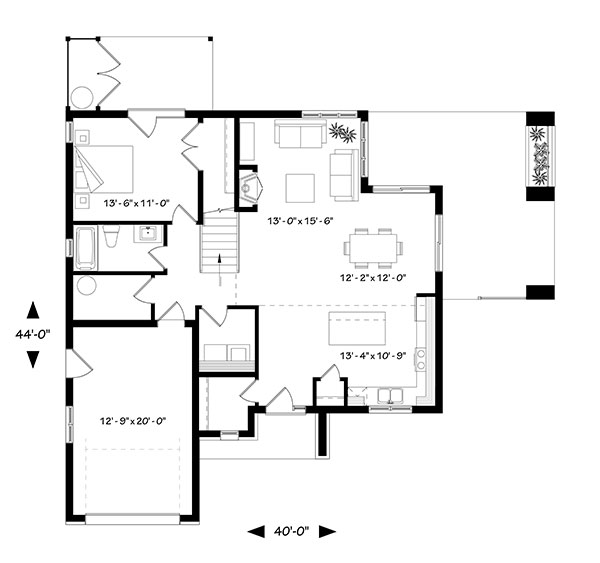 Main level floor plan of a two-story 4-bedroom Azalea contemporary home with kitchen, dining area, living room, and bedroom with private deck.