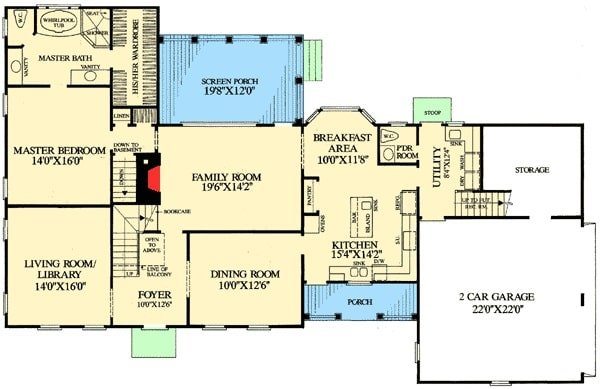 Main level floor plan of a two-story 4-bedroom cape cod home with kitchen, breakfast area, formal dining room, family room that opens to the screened porch, library/living room, primary bedroom, and a utility that leads to the double garage with storage space.