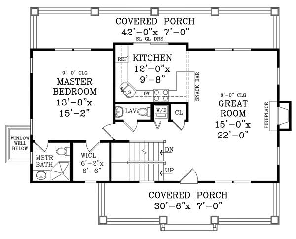 Main level floor plan of a two-story 4-bedroom craftsman cottage with covered porches, great room, kitchen, and primary bedroom.