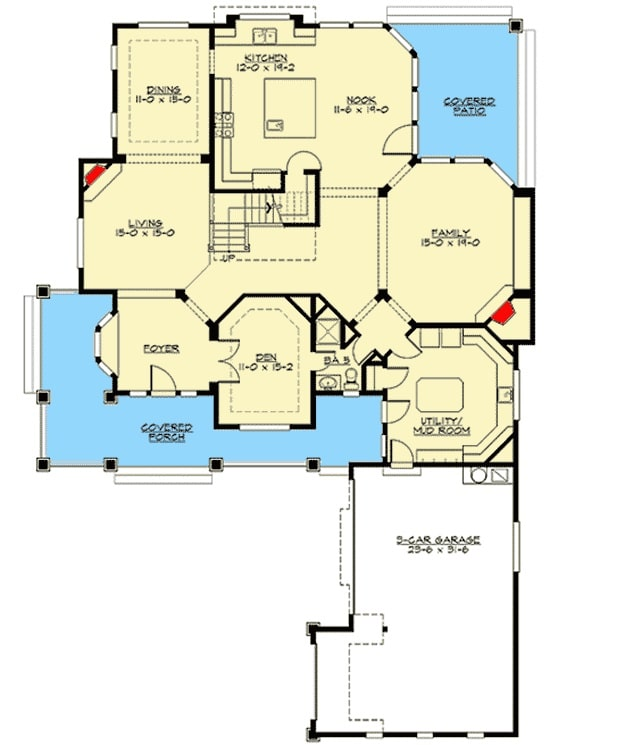Main level floor plan with covered porch and patio, foyer, den, living room, formal dining room, kitchen, family room, and a utility/mudroom that leads to the 3-car garage.