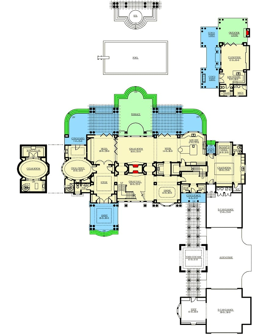 Main level floor plan of a two-story 4-bedroom Northwest home with great hall, foyer, great room, media room, oval office, cigar room, wine cellar, formal dining room, kitchen with breakfast nook, office, craft room, and a clubhouse.