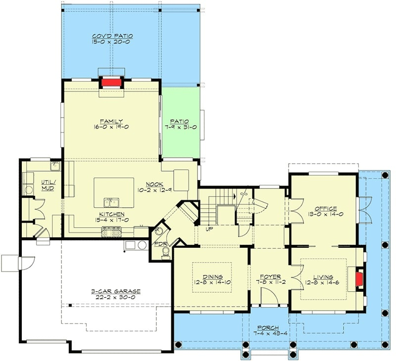 Main level floor plan of a two-story 4-bedroom Shingle-style home with an L-shaped porch, living room, office, formal dining room, kitchen with breakfast nook, mudroom, and a family room that opens to the patio.