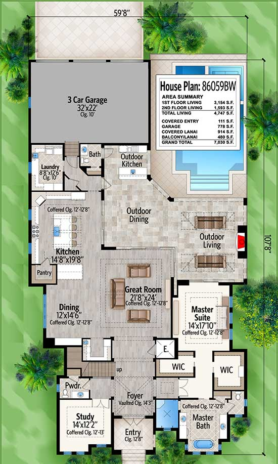 Main level floor plan of a two-story 4-bedroom Southern home with great room, dining area, kitchen, study, laundry primary suite, and lots of outdoor spaces.