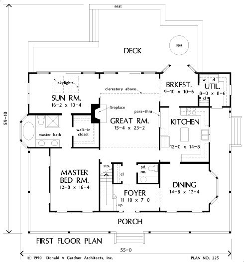 Main level floor plan of a two-story 4-bedroom The Riverbend farmhouse with a wrap-around porch, foyer, formal dining room, kitchen, great room, and primary suite with a sunroom.