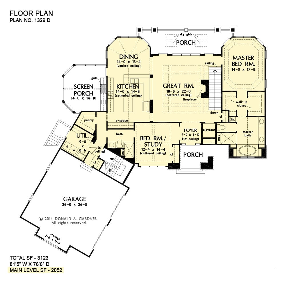 Main level floor plan of a two-story 4-bedroom The Sandy Creek craftsman with angled garage, great room, combined dining and kitchen that opens to the screened porch, primary suite, and a flexible study that doubles as a guest room.