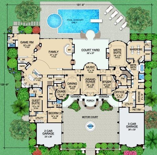 Main level floor plan of a two-story 4-bedroom Vaquero Mediterranean home with two garages, grand foyer, music room, formal dining room, lounge area, study, office, exercise room, game room, three bedrooms, and plenty of outdoor spaces.