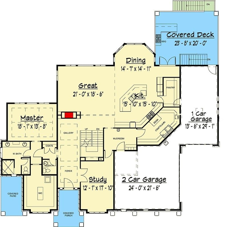 Main level floor plan of a two-story 5-bedroom country craftsman with study, primary suite, great room, kitchen, and dining area that opens to the covered deck.