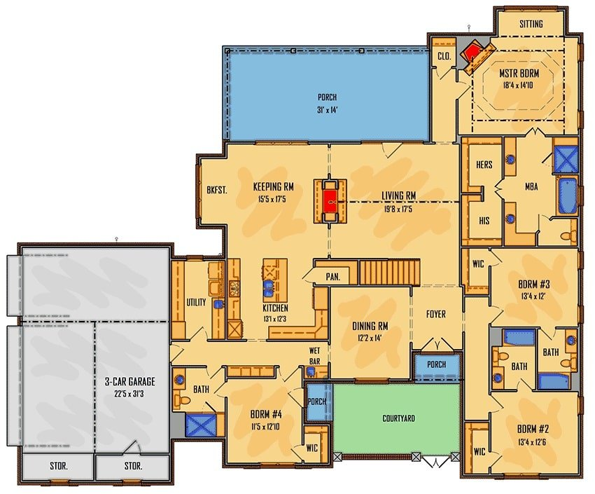 Main level floor plan of a two-story 5-bedroom European home with courtyard, formal dining room, living room that opens to the back porch, kitchen, keeping room, utility, 4 bedrooms, and a three-car garage with storage spaces.