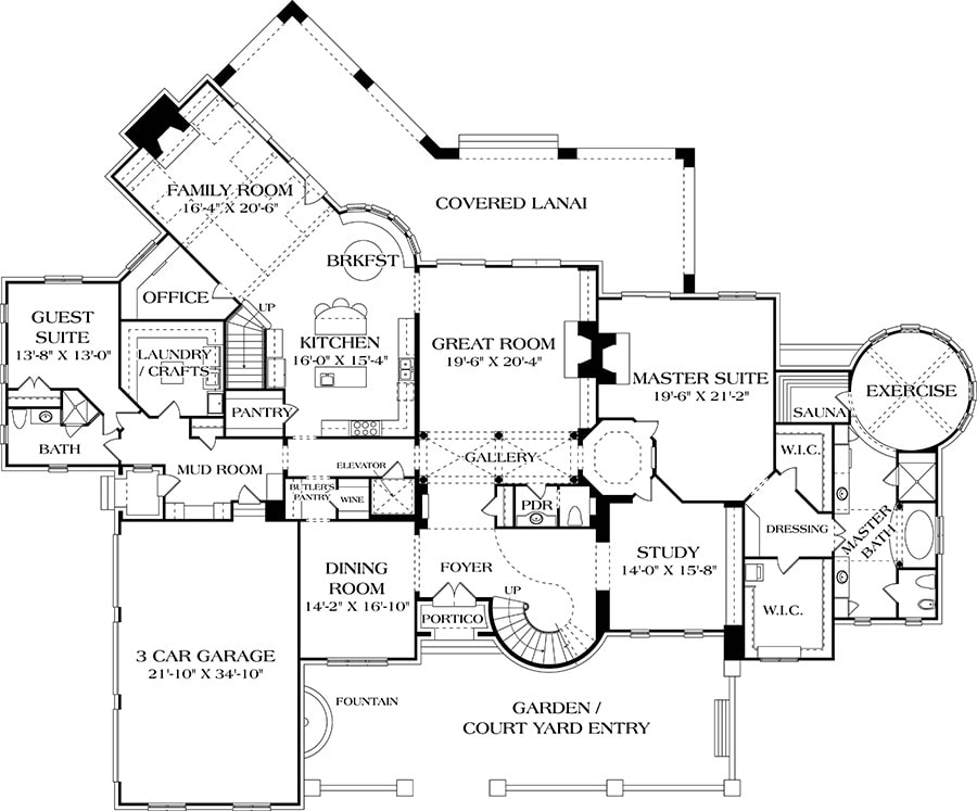 Main level floor plan of a two-story 7-bedroom European home with courtyard entry, great room, study, formal dining room, kitchen with breakfast nook, family room, office, guest suite, laundry/crafts, and a primary suite with sauna and exercise room.