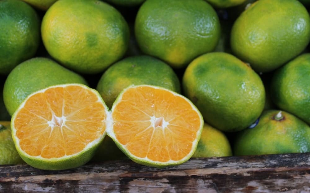 A sliced lime against a bunch of whole Mandarin limes.
