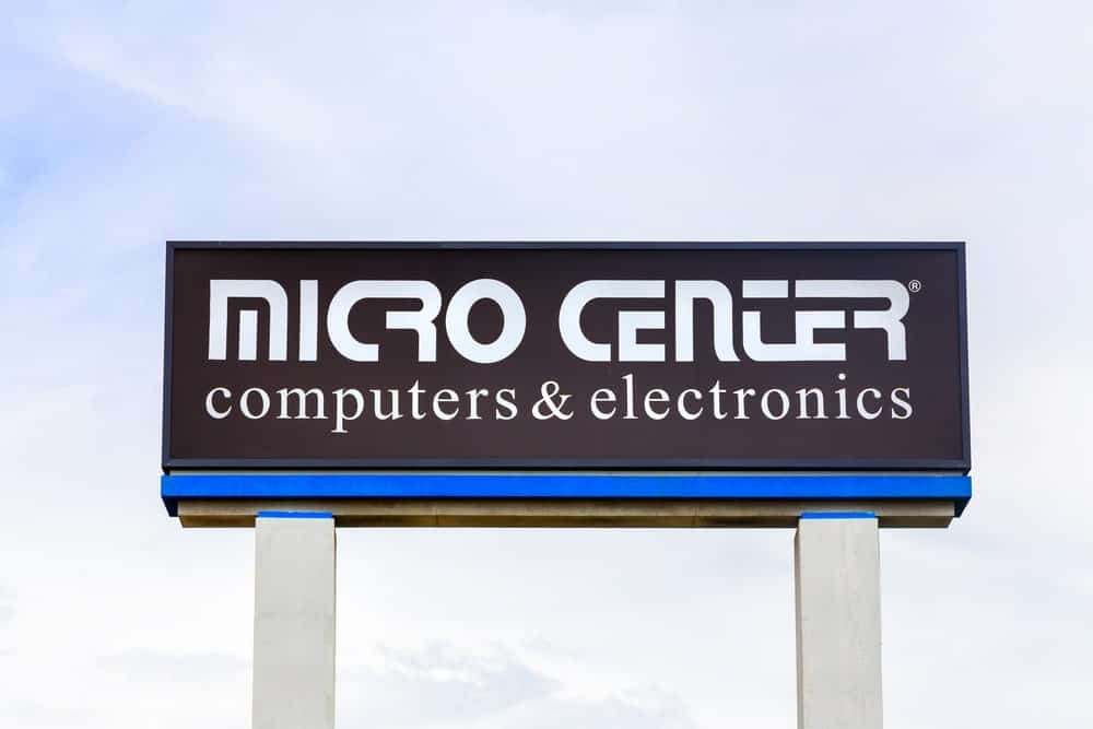 Micro Center retail store sign and logo.