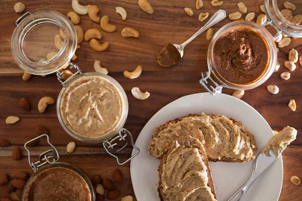 Toasts with nut butter spread.