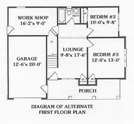 Alternate first floor plan with front porch, lounge, two bedrooms, and a garage with workshop.