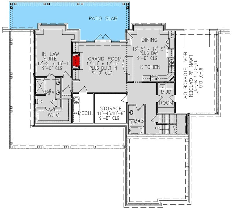 Lower level floor plan with a grand room, shared dining and kitchen, mudroom, and an in-law suite.