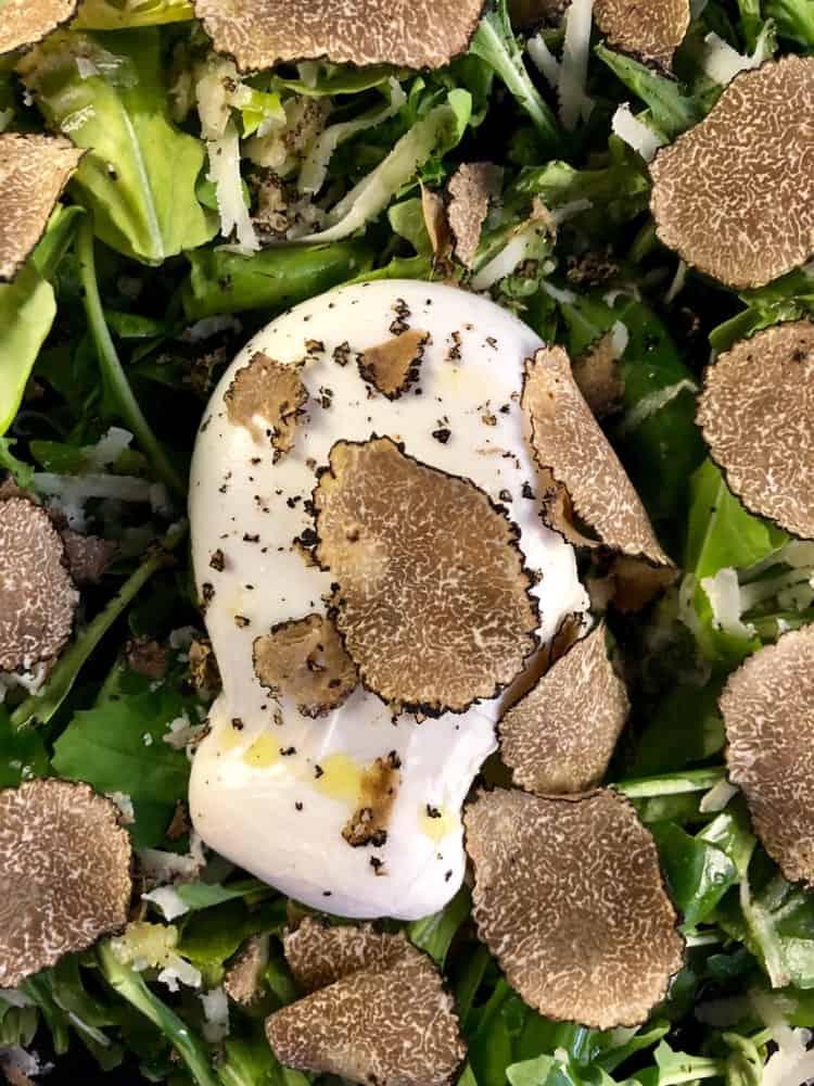 Slices of Oregon Black truffle on Burrata cheese and Arugula greens
