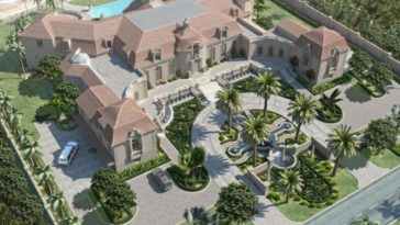 This is an aerial view of the massive mansion showcasing the front garden with palm trees and the backyard with a large pool next to the beach. Image courtesy of Toptenrealestatedeals.com.