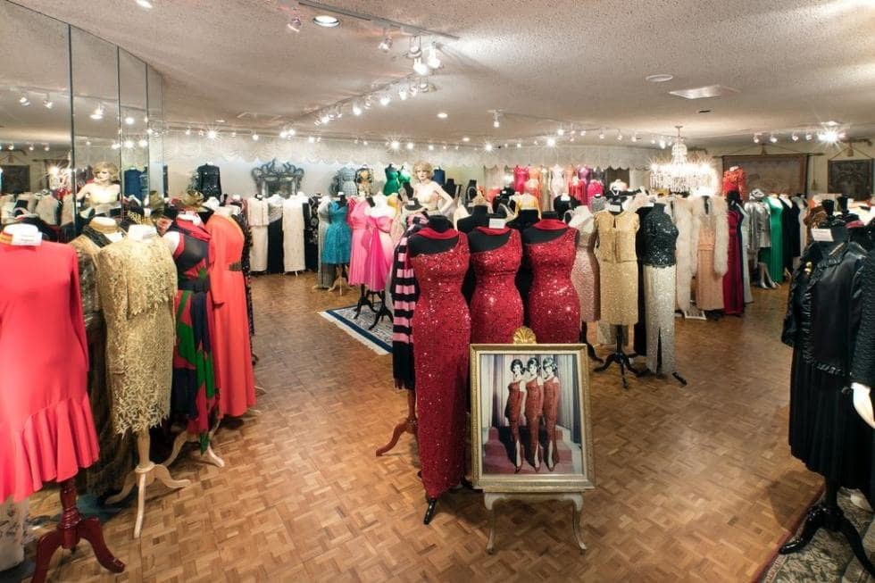 This is a miniature museum inside the house featuring the dresses and outfits that the McGuire Sisters wore in their career. Image courtesy of Toptenrealestatedeals.com.