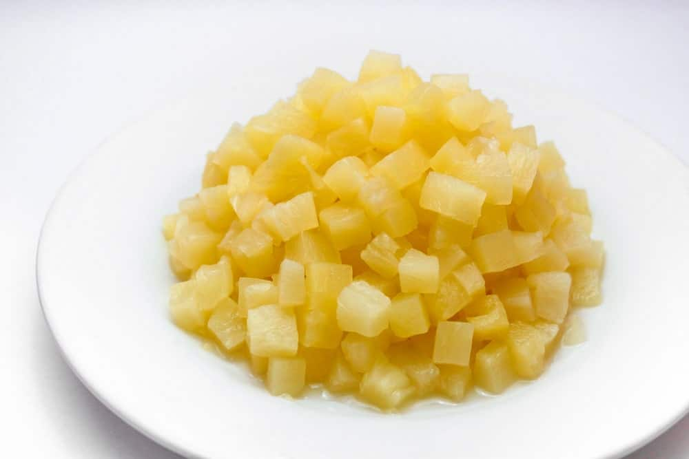 Pineapple tidbits in a plate.