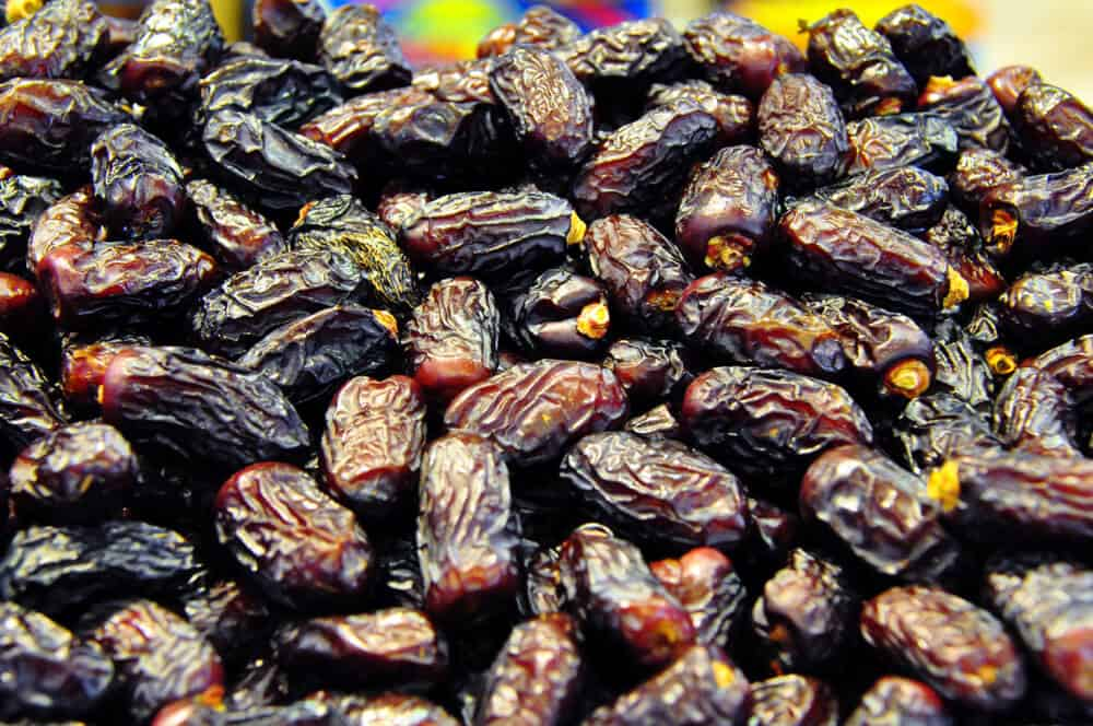 A huge pile of dried Safawi dates.