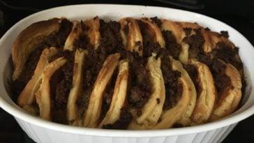 A freshly baked sausage pancake breakfast casserole.