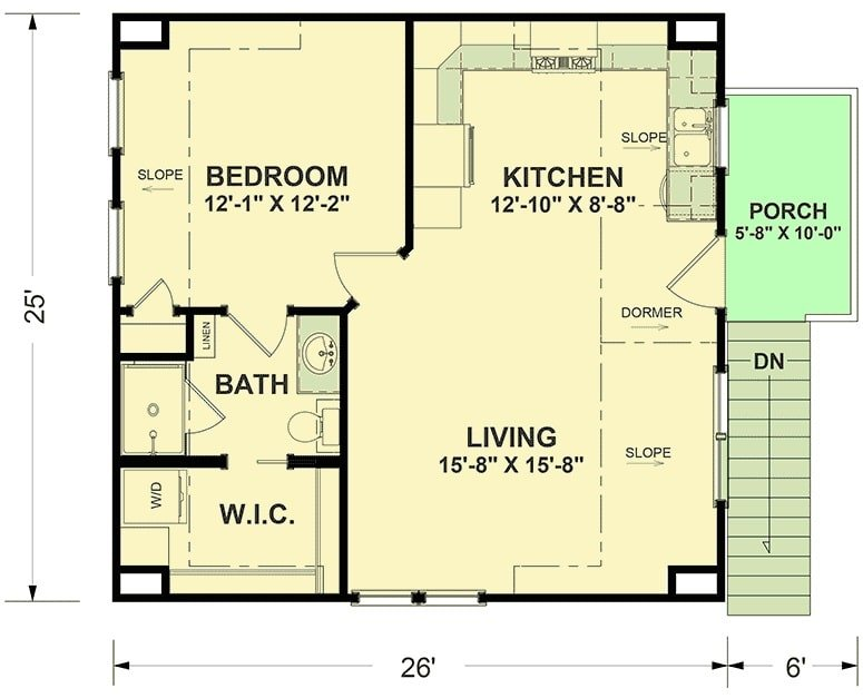 Second level floor plan with side porch, living room, kitchen, and a bedroom complete with a bath and a walk-in closet.