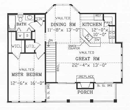 Second level floor plan with front porch, great room, kitchen, dining room, full bath, utility, and a vaulted primary bedroom.