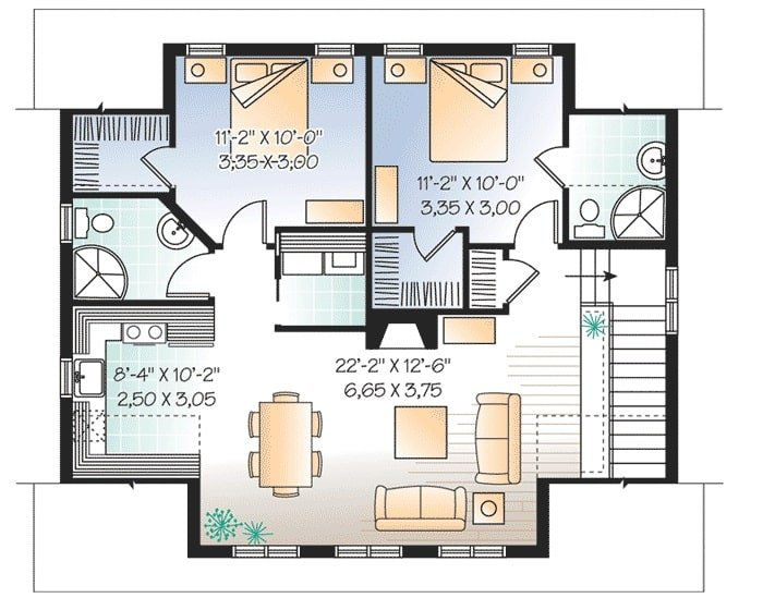 Second level floor plan with two bedrooms, separate baths, a kitchen, and shared dining and living room.