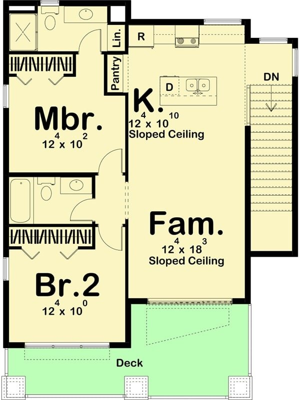 Second level floor plan with two bedrooms, a kitchen, and a family room that opens to the wide deck.