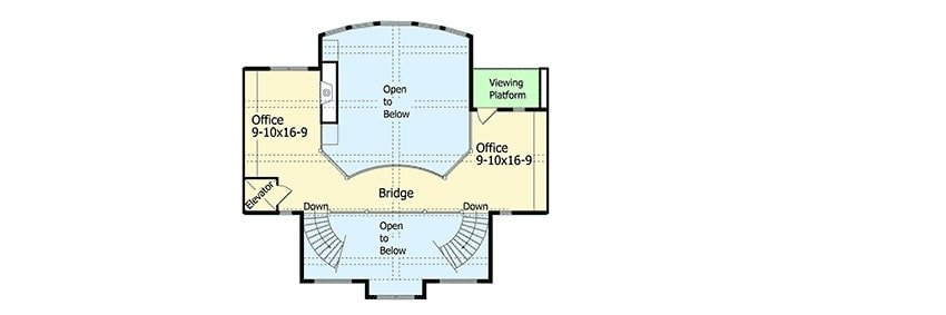 Second level floor plan with office, elevator, and viewing platform.