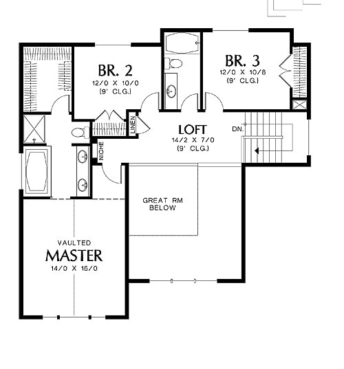 Second level floor plan with three bedrooms and a loft that overlooks the great room below.