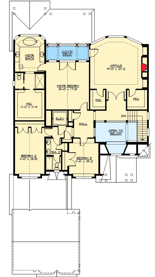 Second level floor plan with an office, two bedrooms, and a primary suite with private deck.