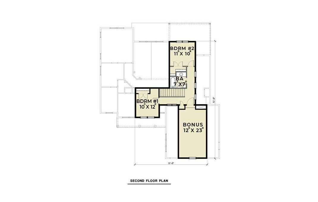 Second level floor plan with two bedrooms and a bonus room.