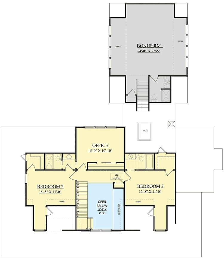 Second level floor plan with two bedrooms, an office, and a separate bonus room above the garage.