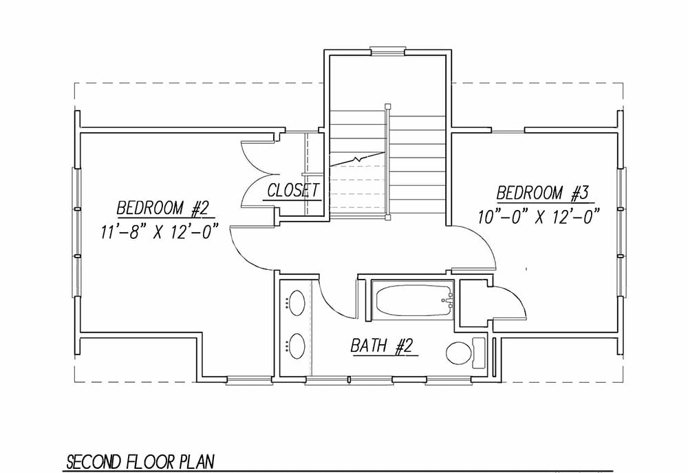 Second level floor plan with two more bedrooms and a shared bath.