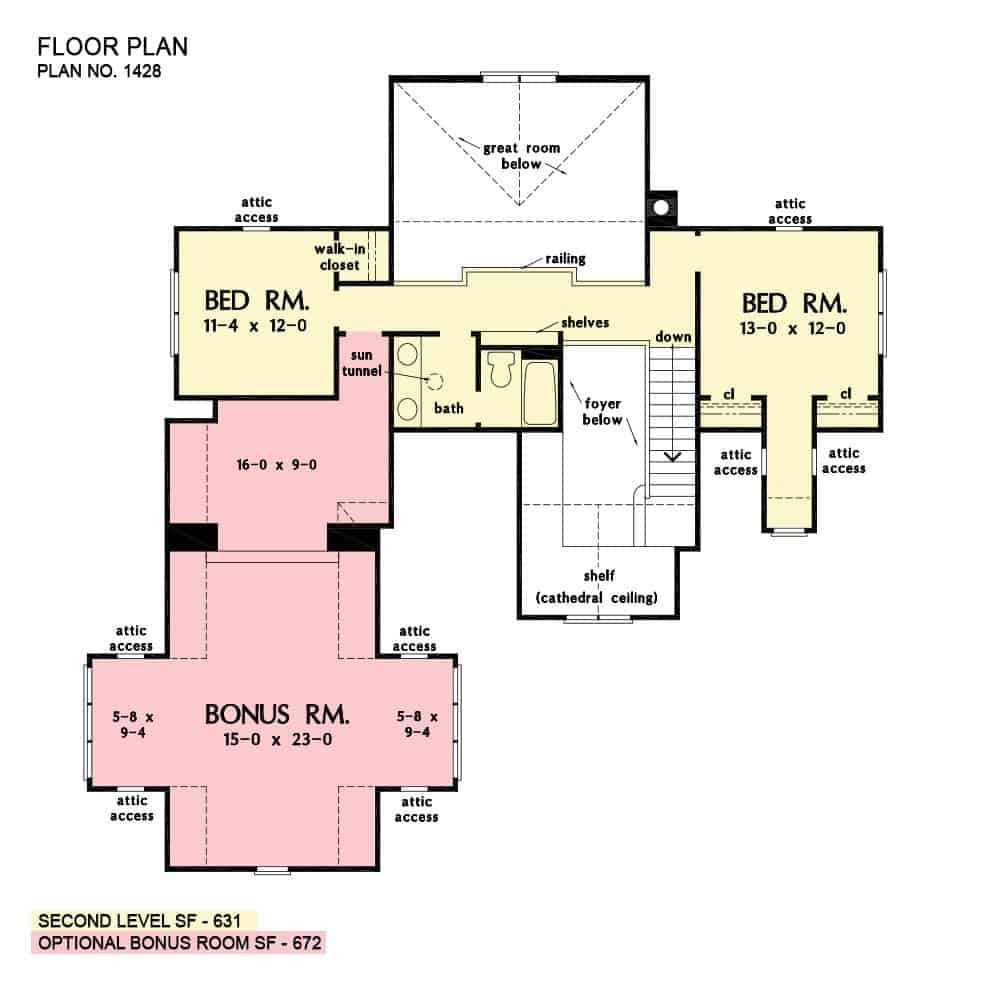 Second level floor plan with two more bedrooms and a large bonus room above the garage.