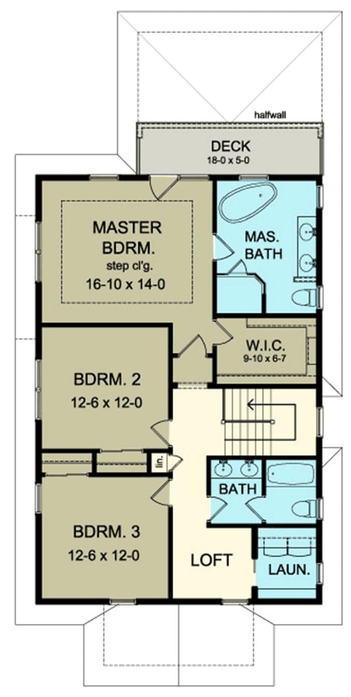 Second level floor plan with a loft, laundry, two bedrooms, and a primary suite with a private deck.