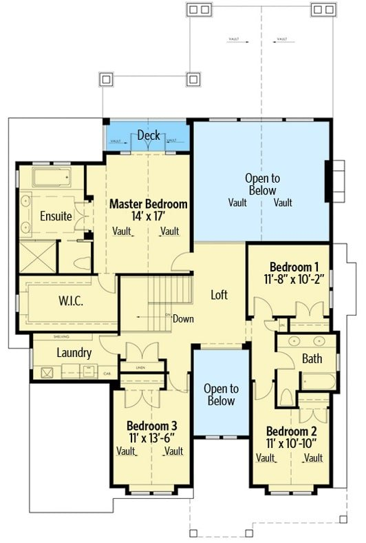 Second level floor plan with bedrooms, laundry room, and a loft overlooking down the great room.